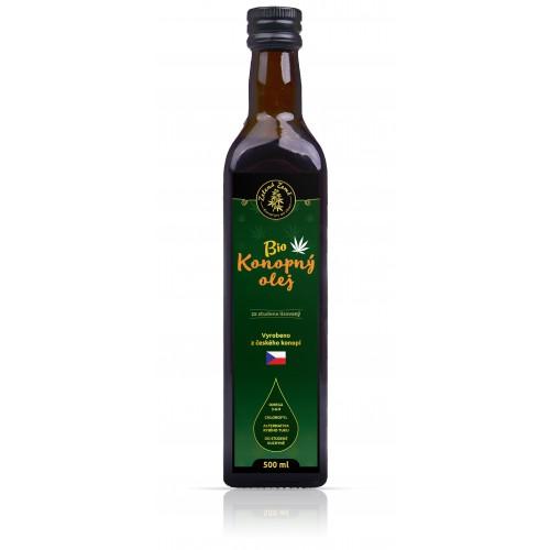 Ekologiczny olej z nasion konopi tłoczony na zimno 500 ml